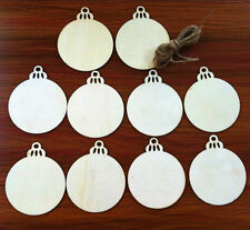 10pcs Wooden Round Bauble Hanging Christmas Tree Blank Decor Gift Tag Shapes