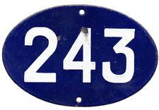 Francés antiguo Oval Azul Número De Casa Puerta 243 Puertas Placa Placa Esmalte Acero Signo