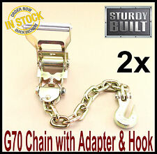 2x Chain Ratchet Strap Tie Down G70 Flatbed Tow Hauler Carrier Wrecker Trailer