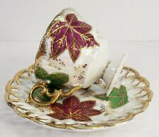 Vintage Fan Crest Leaves Iridescent Bone China Footed Tea Cup & Pierced Saucer