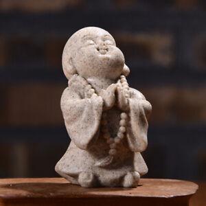 Cute Monk Statue Sandstone Chinese Buddha Statuettes Figurine Home Decor Crafts