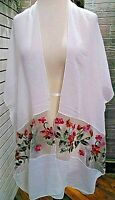 Sheer Cover Up Floral Detail One Size NWT coral,white Women's new