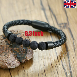 UK Natural Lava Stone Gemstone Bead Chakra Bracelet Reiki Healing Anxiety Stress
