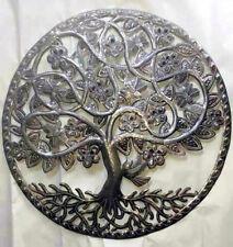 "Metal Tree of Life Flowers Birds Sculpture Wall Art Haiti Outdoor Decor Sale 24"""