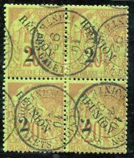 REUNION 1891 Yvert 31 gestempelt TADELLOS im VIERERBLOCK ABART(D5932