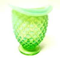 Vintage Mid-Century Fenton Green Opalescent Hobnail Small Vase