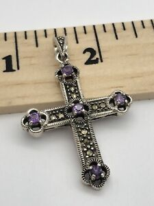 marcasite amethyst Sterling Silver 925 Cross Pendant