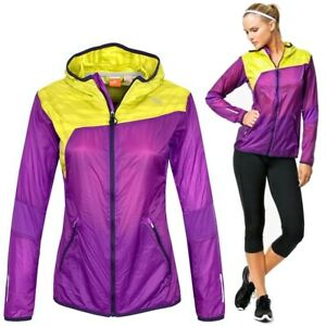 PUMA Windbreaker Ladies Running Jacket Track Sports Wind M L Purple/Yellow