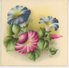 VINTAGE HEAVENLY MORNING GLORY VINE FLOWERS BOTANICAL PRINT 1 ANTIQUE SHOP CARD