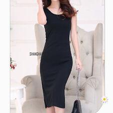 Women Side Slit Maxi Vest Dress Long Stretch Bodycon Jersey Calf Length Black