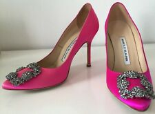 Manolo Blahnik Hangisi 35.5  5,5  Fuschia Pink High Heels Discolored Used