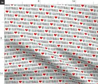 Heart Love Typography Sports Ball Volleyball Spoonflower Fabric by the Yard