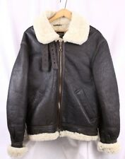 WWII Replica B-3 Brown Leather Bomber Jacket Shearling Lining Flight Coat Men S