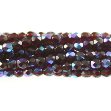 Garnet Red AB - 50 4mm Round Fire Polish Czech Glass Beads