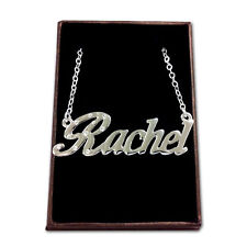 White Gold Plated Name Necklace - RACHEL - Gift Idea For Her - Bridesmaid Love