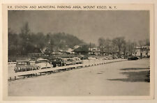 R.R. Station and Municipal Parking Area, Mount Kisco, New York NY Postcard