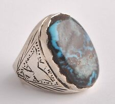 Silver turquoise Ring-Middle Eastern-genuine Egyptian Sinai turquoise