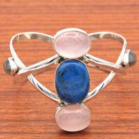 Shattuckite Rose Quartz 925 Sterling Silver Solid Bangle Bracelet Women Jewelry