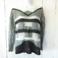 Madewell Sweater S Small Gray Black Color Block Mohair Wool Blend Pullover