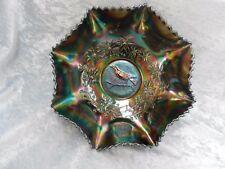 RARE Old Australian Crown Crystal Dark Carnival Glass Magpie Master Ruffled Bowl