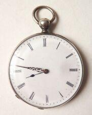 Montre à gousset de poche en argent massif 19e siècle à clé Chasseur chien watch