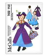 MARY POPPINS Doll Sewing Pattern McCalls 7432 Rag Dress Coat Skirt Crochet Scarf