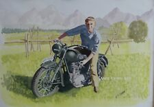 Steve McQueen Great Escape Triumph watercolour print by Andy Crabb