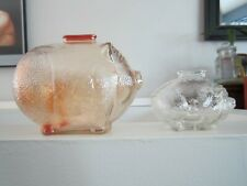 Anchor Hocking large amber glass  piggy bank, smaller clear glass pig