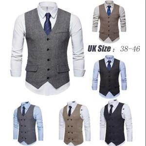 Mens Waistcoat New black Classic Mens  Tweed Waistcoat Formal Vest Gilet
