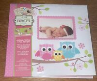 New Tapestry By CR Gibson Complete Scrapbook Album 12x12 Baby Girl Owls Flowers