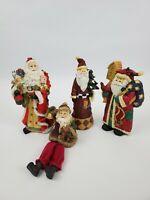 Santa Claus 8 inch Figures Ceramic Porcelain Lot Of 4 Christmas Holiday Decor