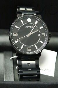 Movado Swiss Watch SE Pilot 40mm Black PVD Steel Stainless Bracelet 606809 32381
