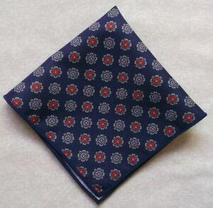 "Mens Pocket Square Hankie Handkerchief NEW NAVY BLUE ROSETTES MOD 9"" X 9"""