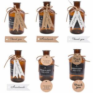 100Pcs Thank you Handmade Craft Paper Label Wedding Gift Tags & 20M Jute Strings