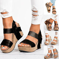 Women High Wedge Platform Espadrilles Sandals Shoes Gladiator Strap Size 6-10.5