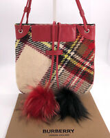 Burberry Authentic Vintage Haymarket Check Real Fur Pom Pom Wool Crossbody Bag