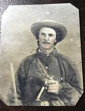 civil war Heavily Armed Confederate Soldier tintype C042RP