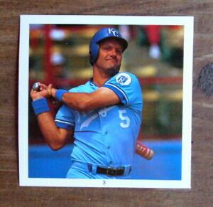 """George Brett #3 Sticker 1991 Hit Men 2.5X2.5"""" Cut Photo Mint Oddball"""