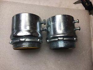 "2pcs: 2-1/2"" Steel Set Screw Connectors for EMT IMC Rigid Conduit"