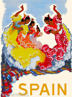 Spain Spanish Dancers European Europe Vintage Travel Advertisement Art Poster