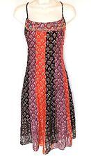Free People Sz 6 M Dress Printed Cotton Beaded Bust Tassels Corset Back Summer