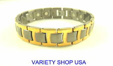 Two Tone Gold Plated Lightweight Titanium Magnetic Therapy Bracelet TI64-2T