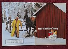 1991 Print Ad Marlboro Man Cigarettes ~ Western Cowboy Yellow Coat Snow & Barn
