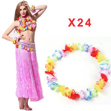 24 Pcs Hawaiian Arcoiris Flor Con Una Hula De Luau Multicolor Collar