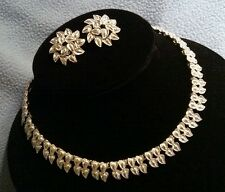 Enchanting Vintage Coro Demi Parure Silver Necklace and Earrings~ Signed