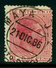 "PUERTO RICO 1882 K.ALFONSO XII  2c rose Sc# 64 with SON ""MAYAGUEZ 21 DEC 86"" cxl"
