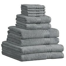 Luxury 100% Egyptian Cotton 10 Piece Bathroom Towel Bale Gift Set, Silver Grey