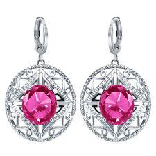 Women Fashion 925 Silver Pink Sapphire Dangle Drop Earrings Party Jewelry Gift