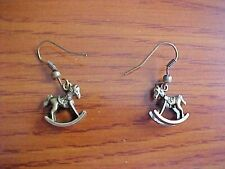 Miniature Antique Bronze Colored Metal Dangle Earrings Rocking Horse