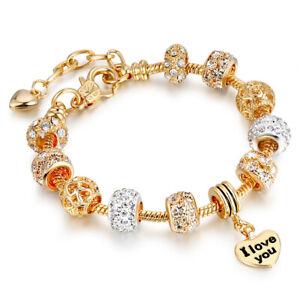 "18K Gold Plated Heart "" I LOVE YOU "" Charm Bracelet Made with Swarovski Element"